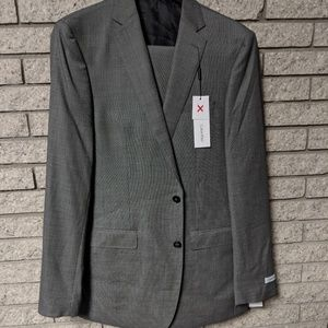Calvin Klein 42XLong 35W Grey 100% Wool Suit Set